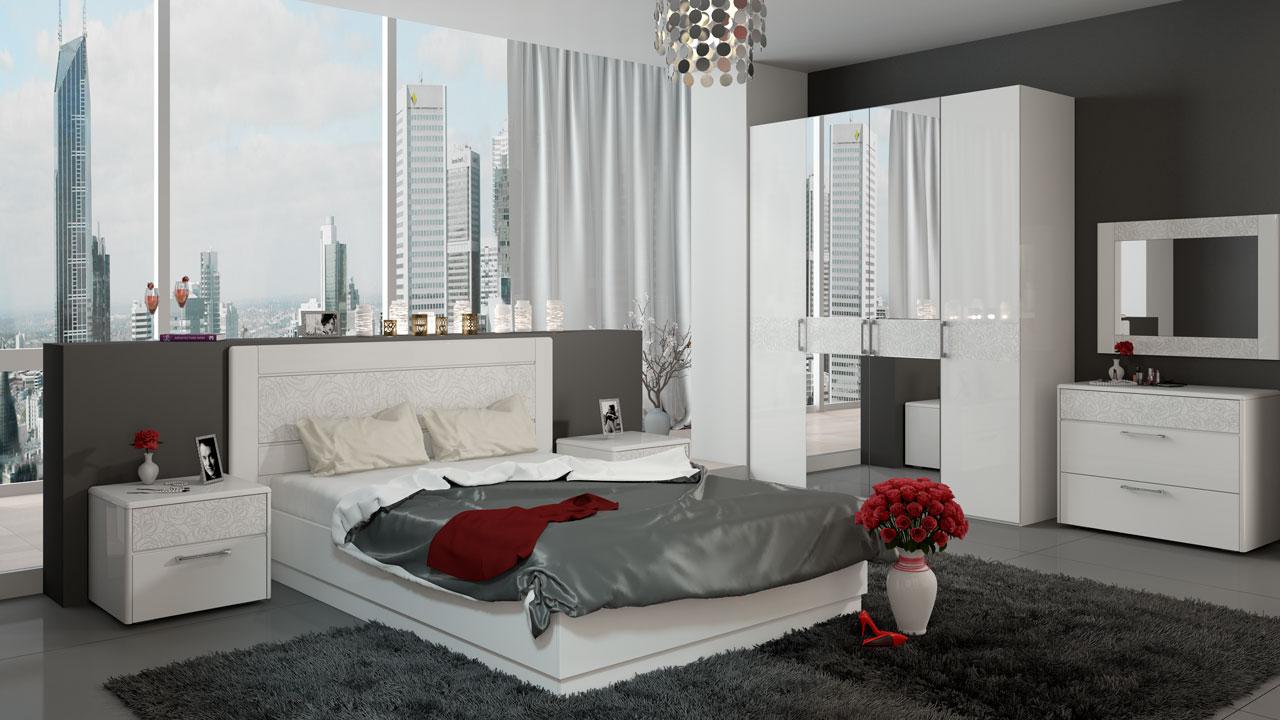 белый спальный гарнитур 39 фото цвета в интерьере глянцевые и