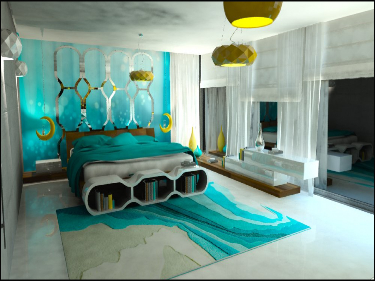 Turquoise bedroom decor