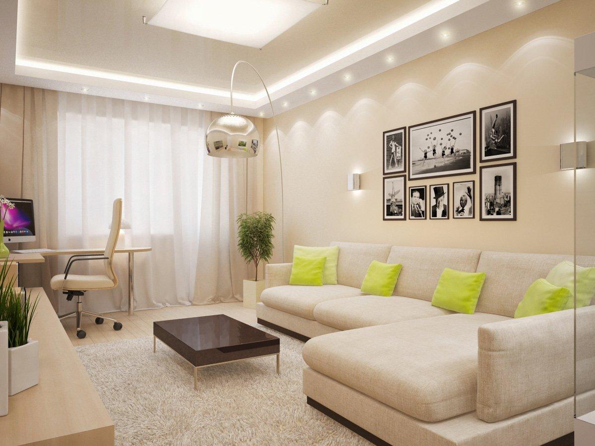 Дизайн спальня-гостиная 18 кв.м фото