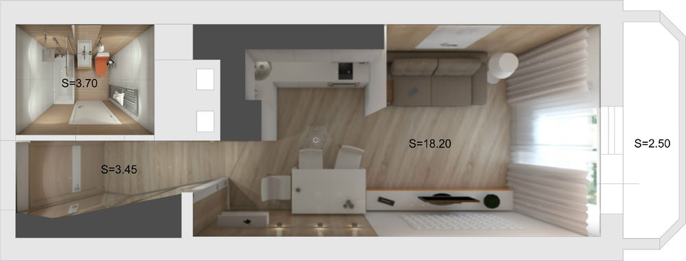 Дизайн квартиры студии 27 кв. м