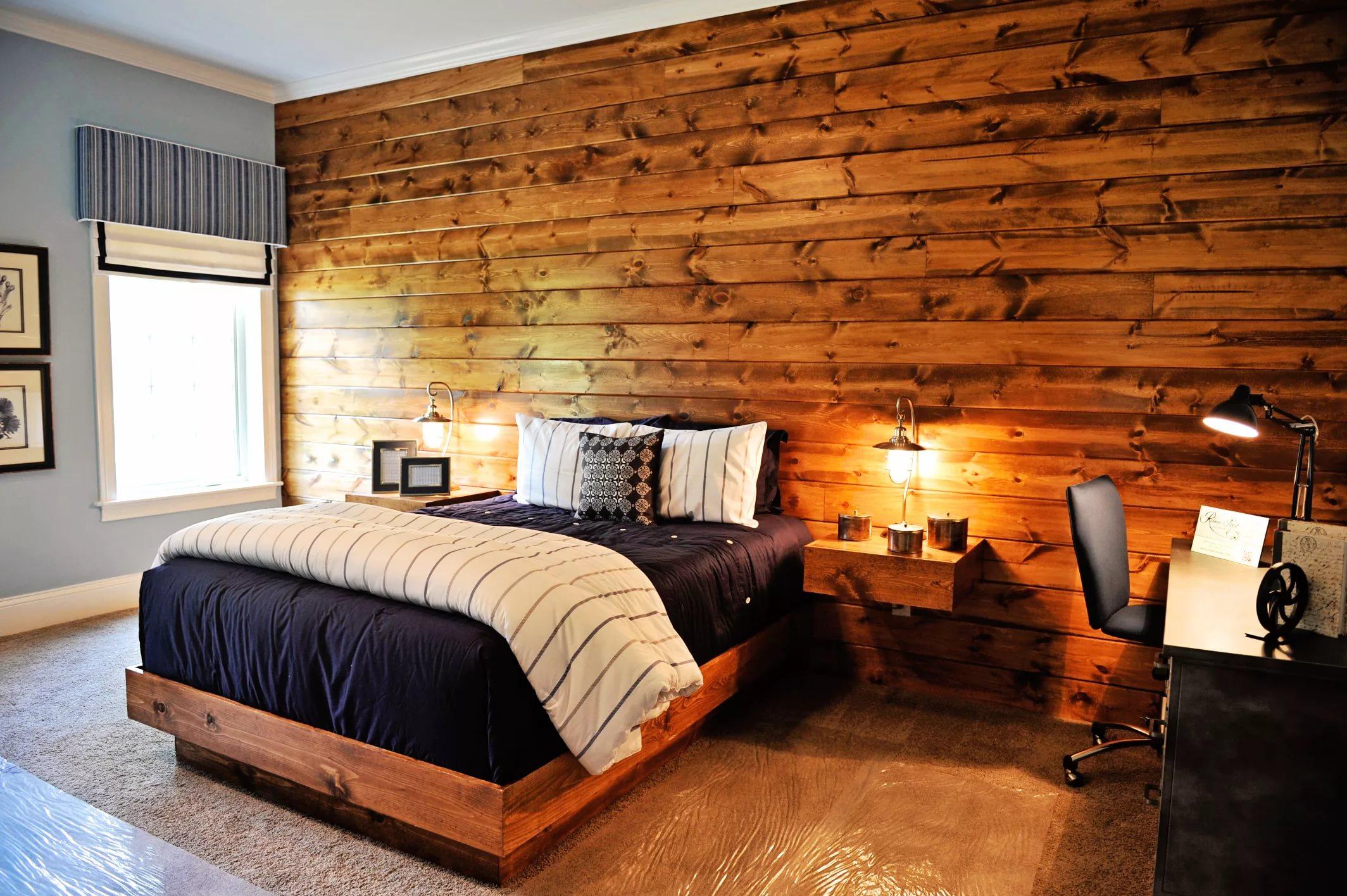 Интерьер спальни под дерево фото