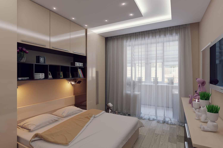 """Спальня в бежевых тонах, совмещенная с балконом"""" - карточка ."""
