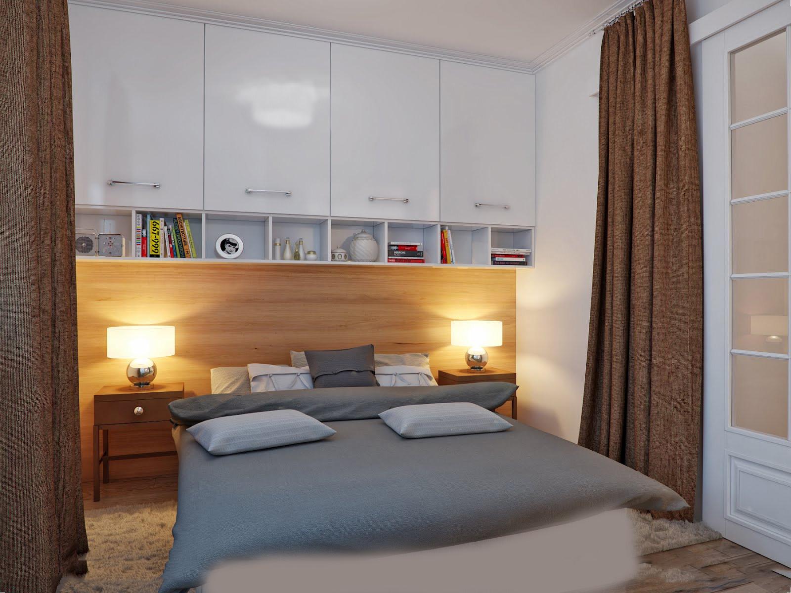 Дизайн маленькой спальни со шкафами