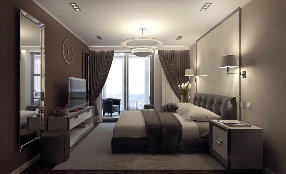 Дизайн спальни с панорамным, двумя или тремя окнами (55 фото.