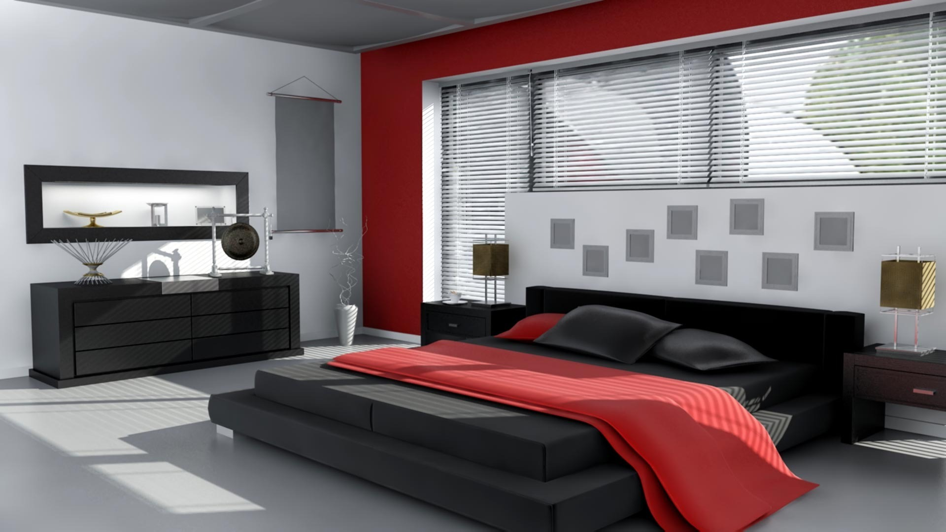 Черно-белая спальня дизайн