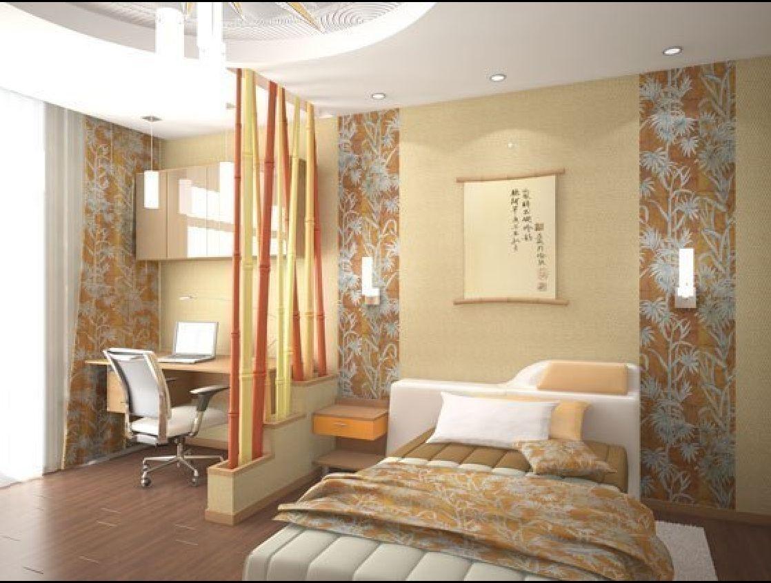 Фото комбинированных обоев для спальни (двух видов).