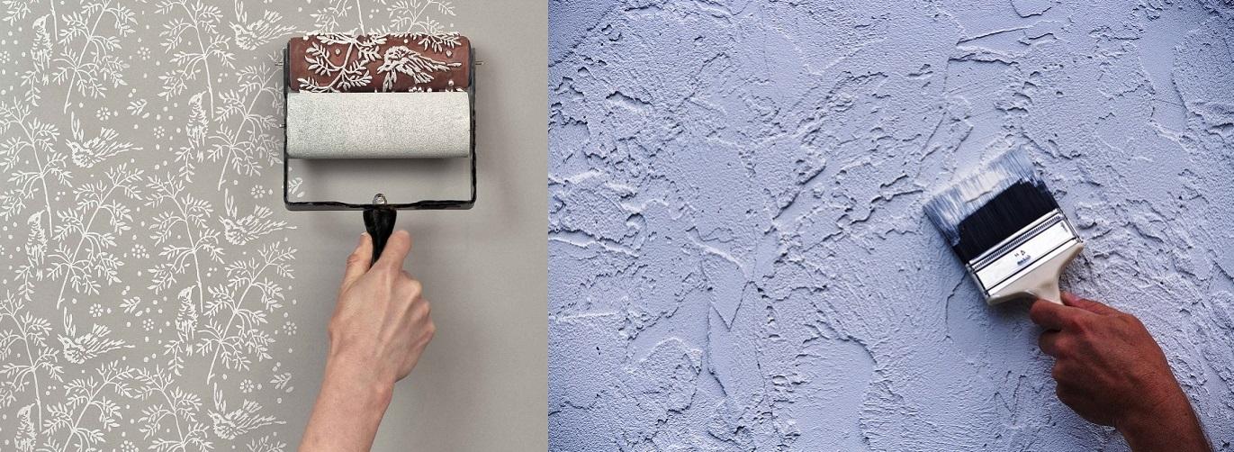 Как покрасить флизелиновые обои с рисунком