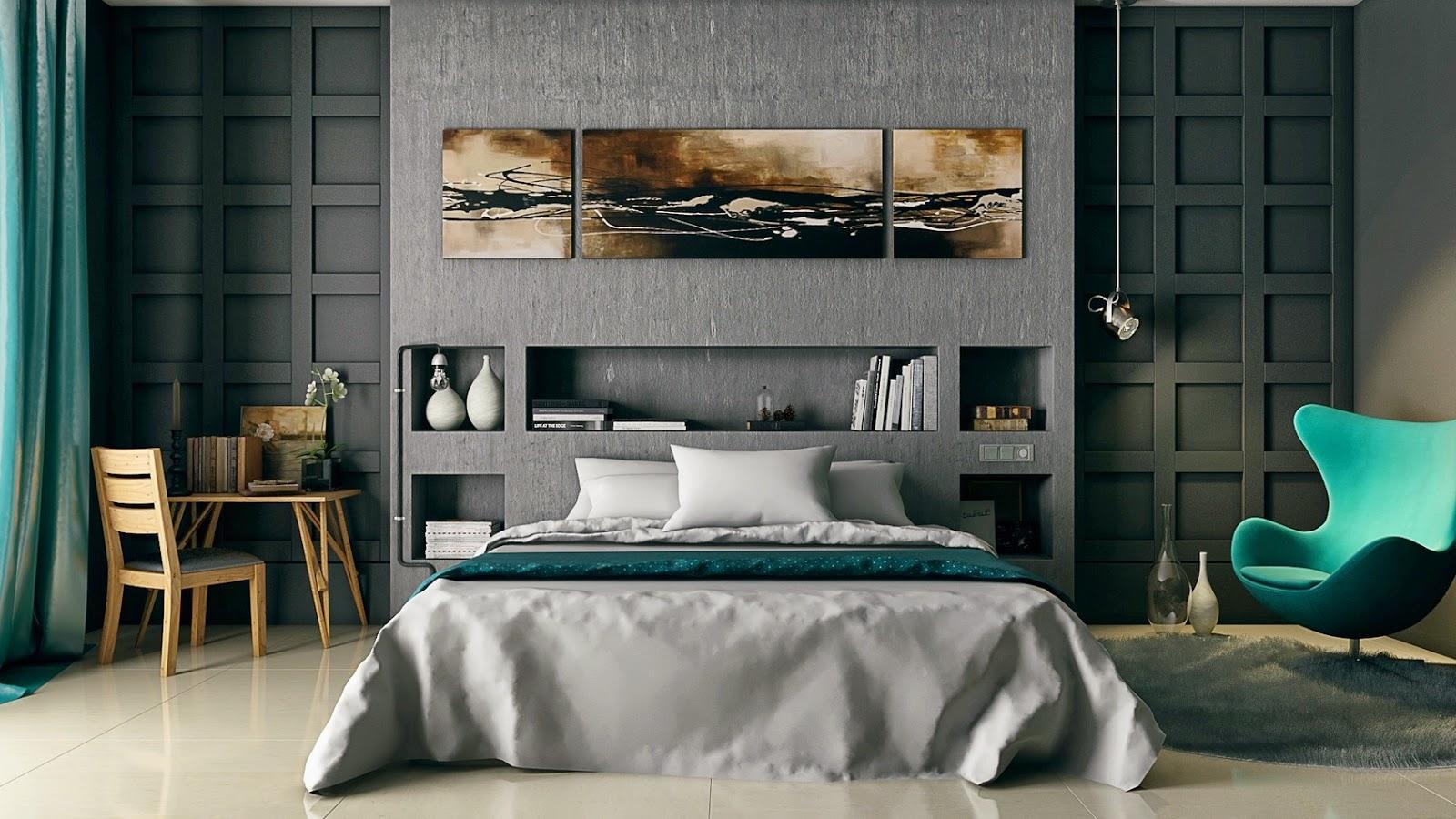 Дизайн спальни серая