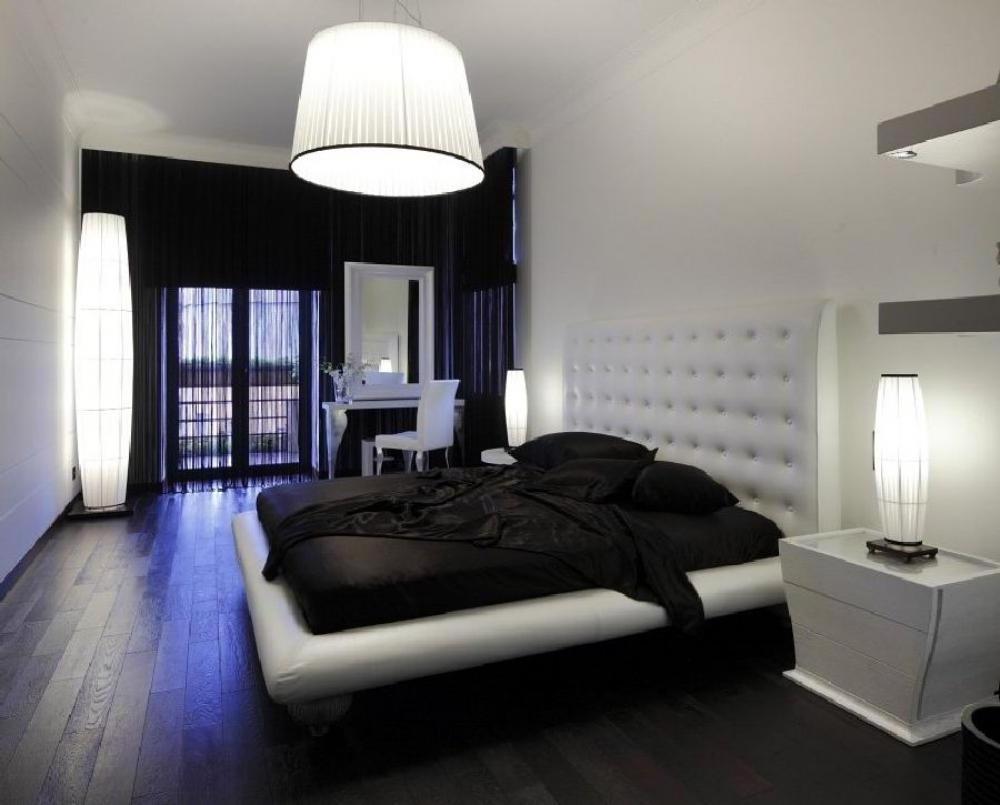 Дизайн комнаты с черно белой мебелью фото