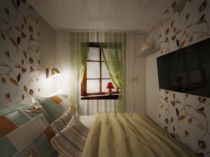 Интерьер спальня без окна дизайн