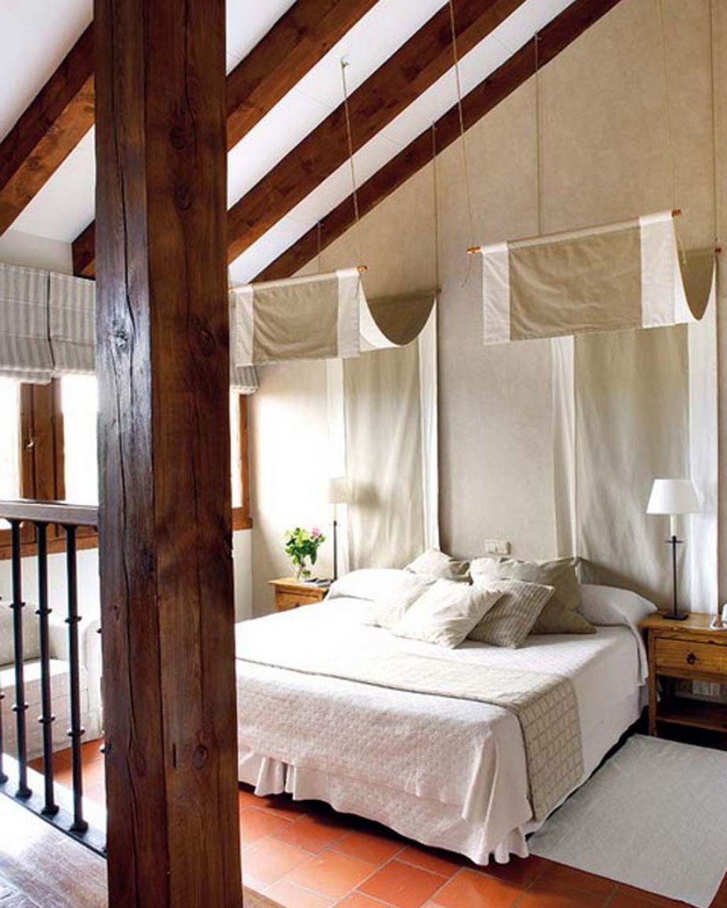 Интерьер спальни в мансардной в стиле 48