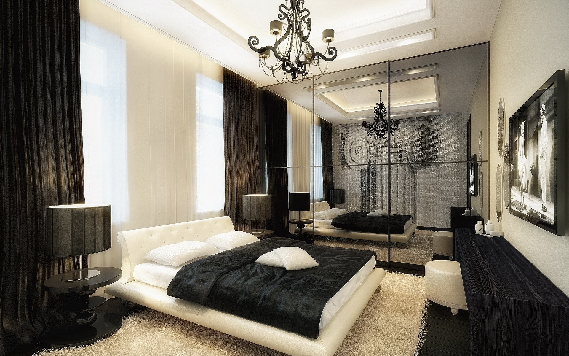 Спальни черно белый дизайн