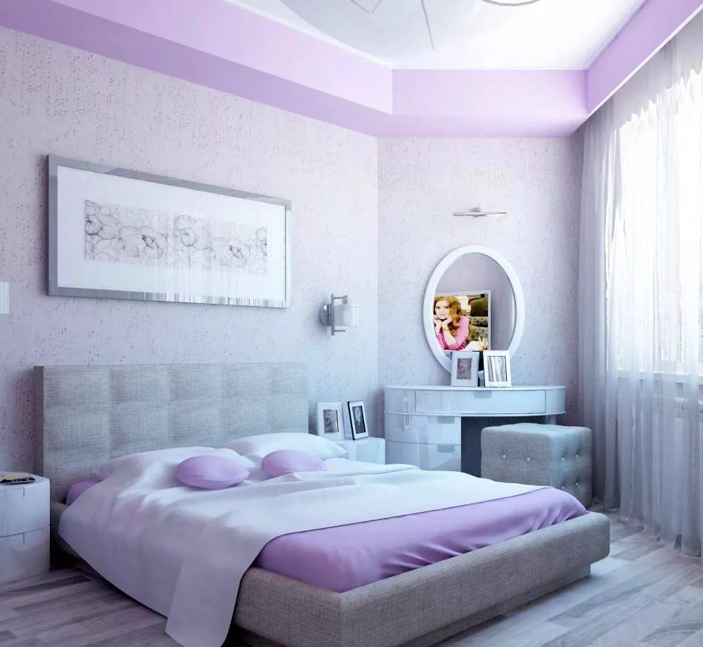 дизайнерские идеи интерьера: Спальня в серо-фиолетовых тонах: дизайн интерьера