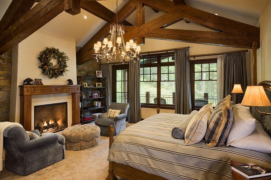 Спальня в стиле Шале 40 фото дизайн интерьера спальной