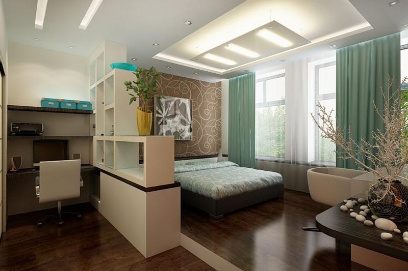 Дизайн комнаты спальни и кухни с зонами 2