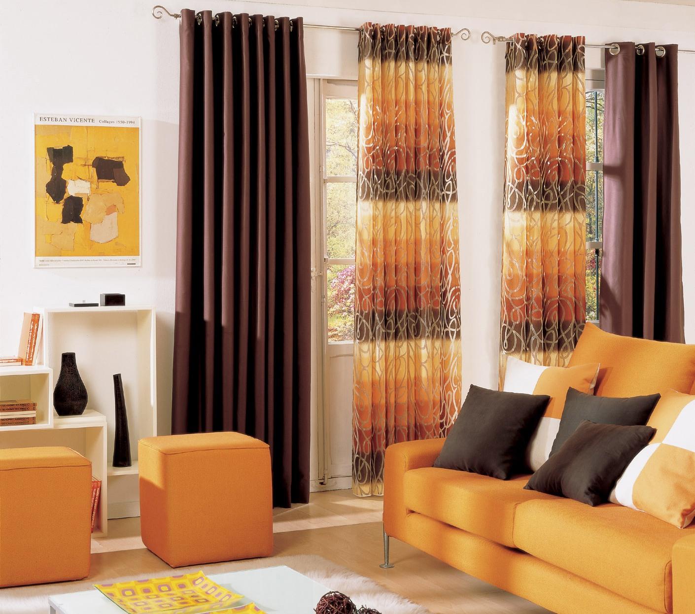 Bright orange curtains