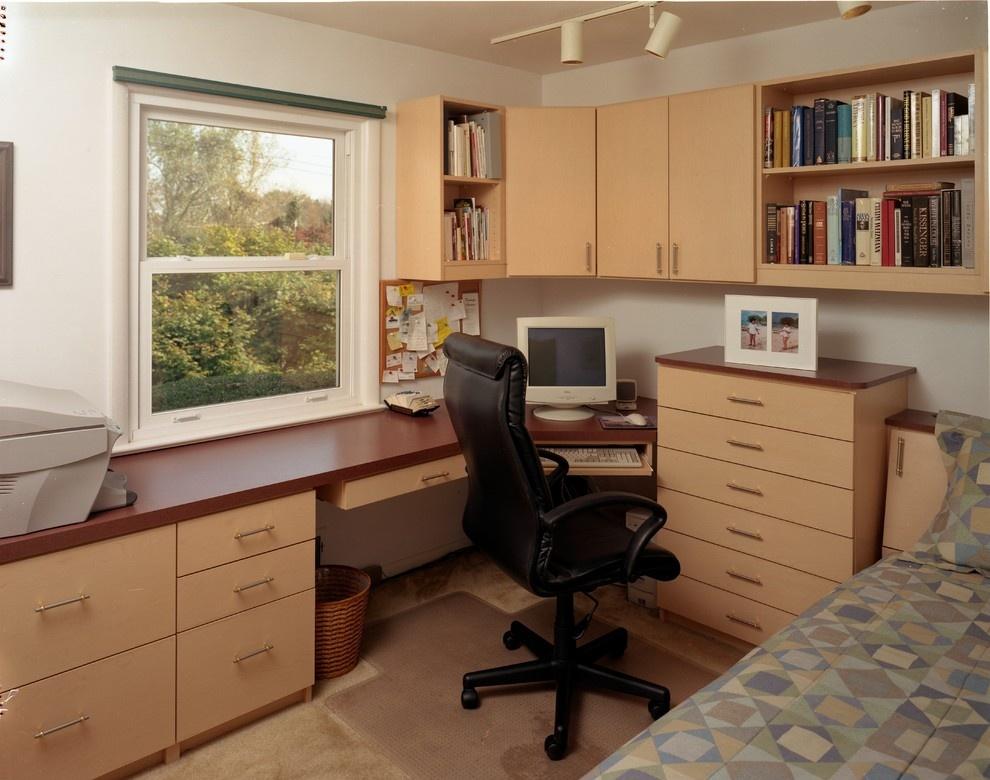 Спальня-кабинет (55 фото): дизайн комнаты с рабочим местом, .