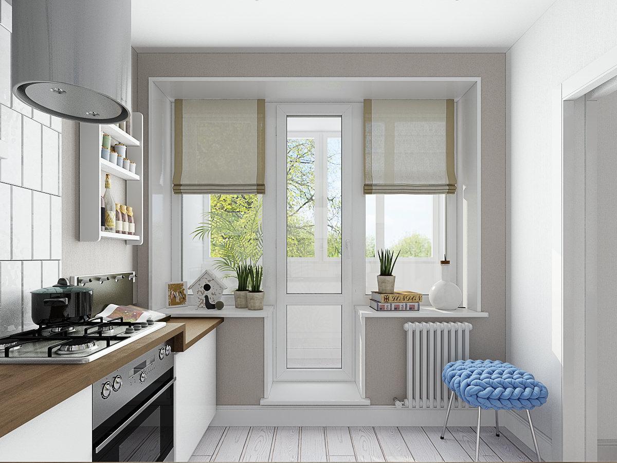 Шторы на кухню с балконной дверью - отличительные особенност.