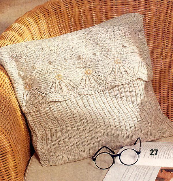 диванные круглые подушки из трикотажной пряжи