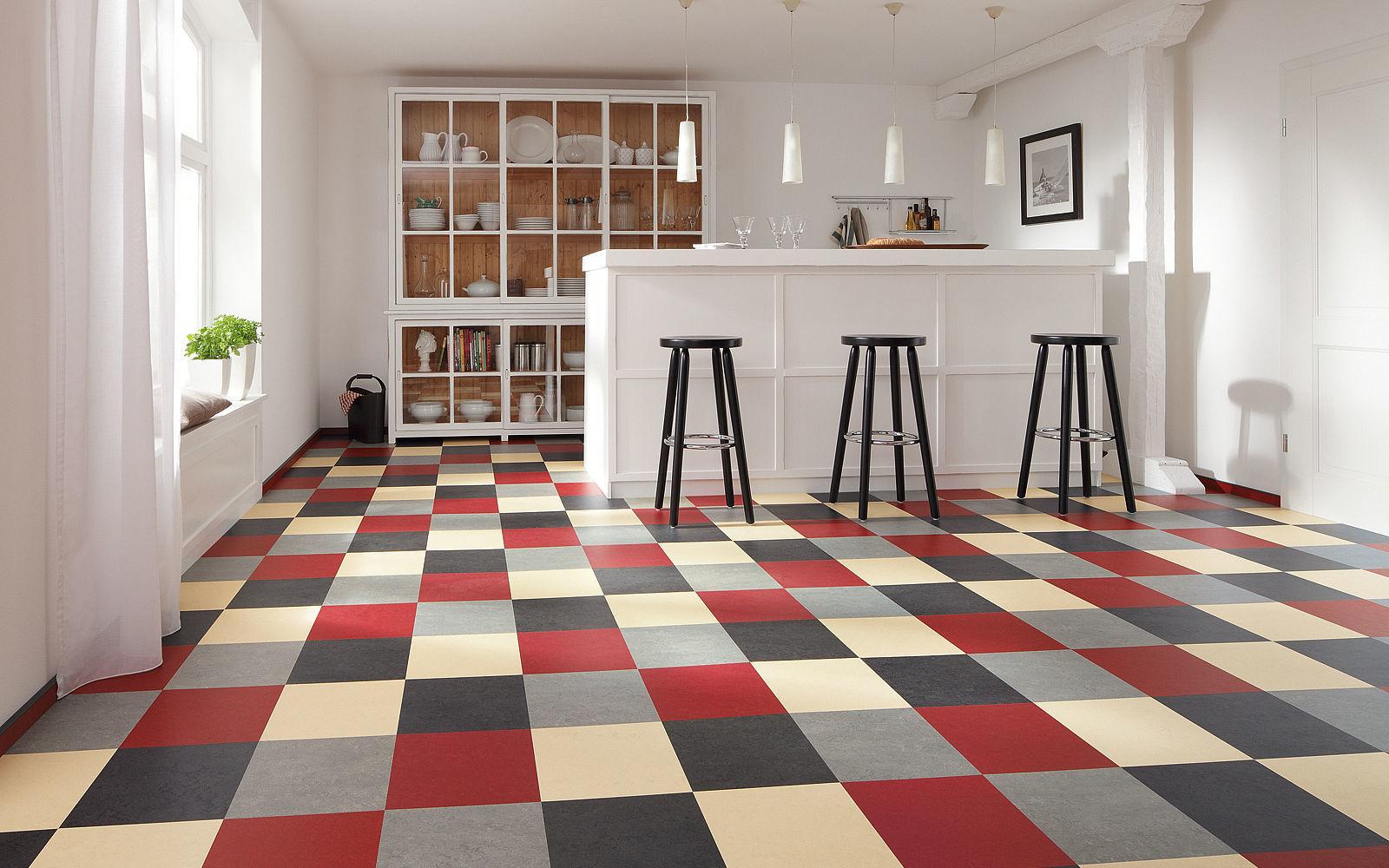 Tile linoleum flooring