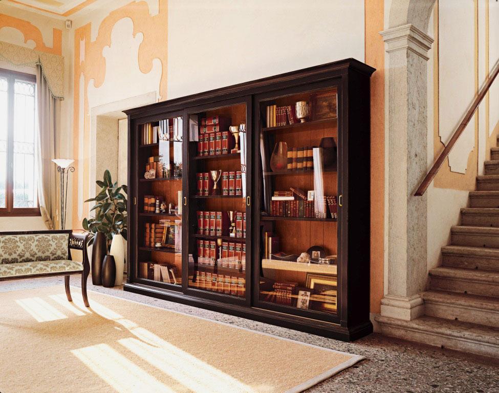 Книжные шкафы со стеклянными дверцами (65 фото): узкие модел.