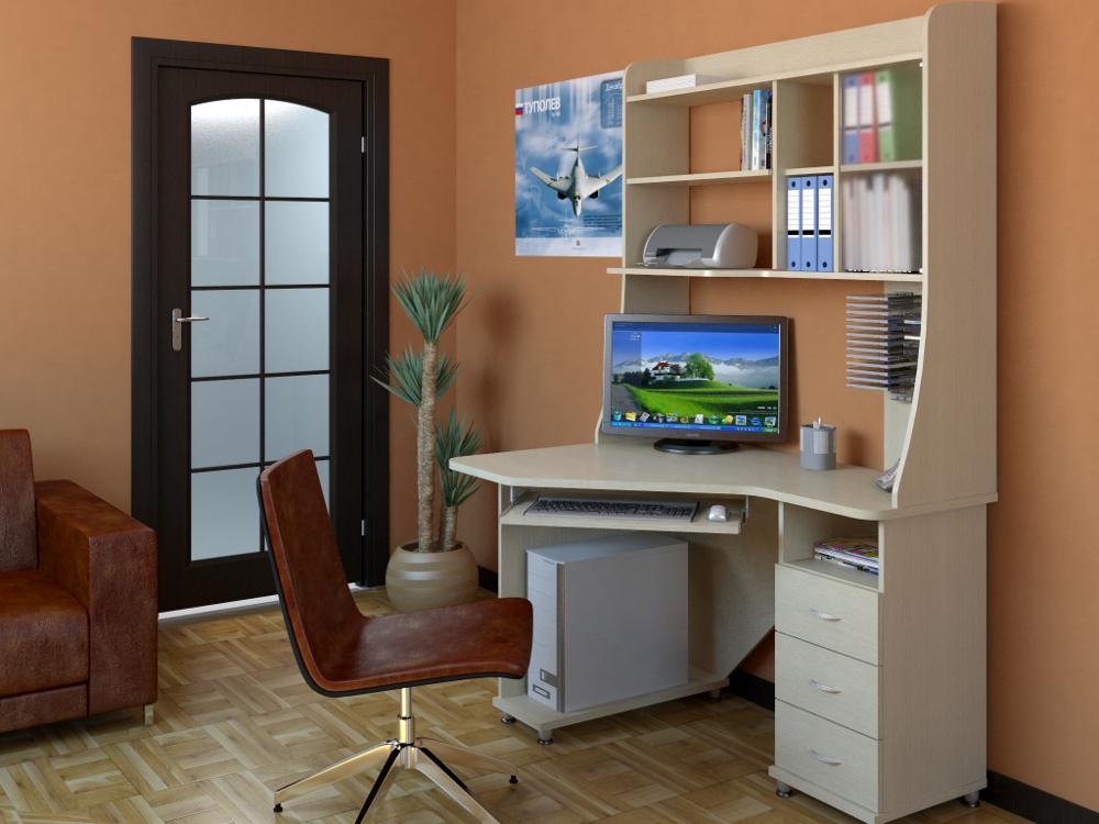 Компьютерный стол с полками (35 фото): рабочий с ящиками и п.
