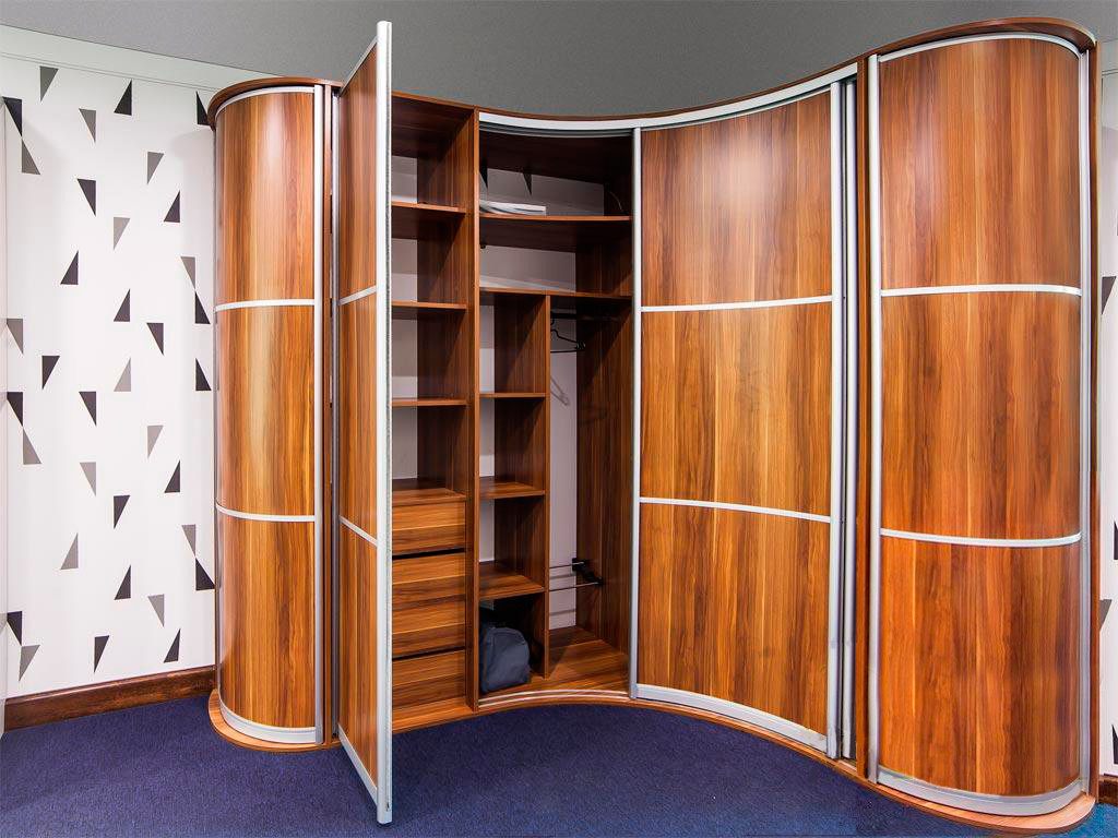 Радиусные шкафы (53 фото): круглые и полукруглые модели с ра.
