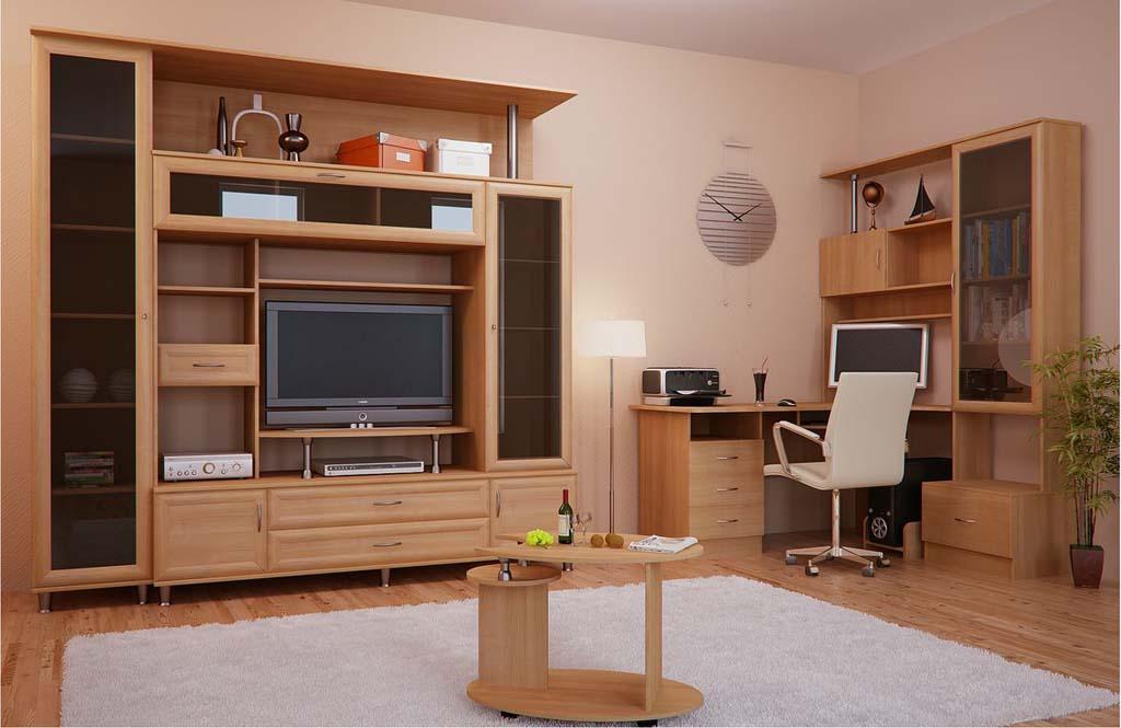 Стенка с компьютерным столом в гостиную (18 фото): письменны.