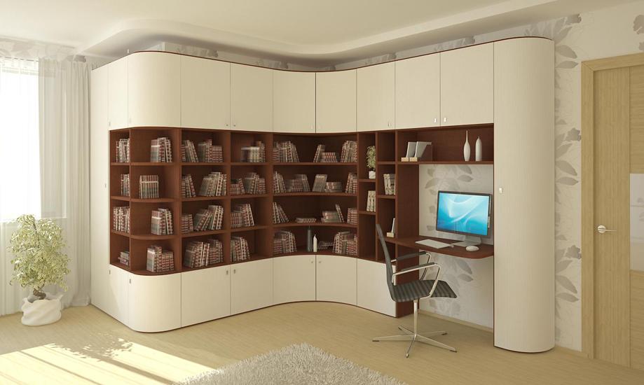 Угловой книжный шкаф (32 фото): малогабаритные модели с полк.