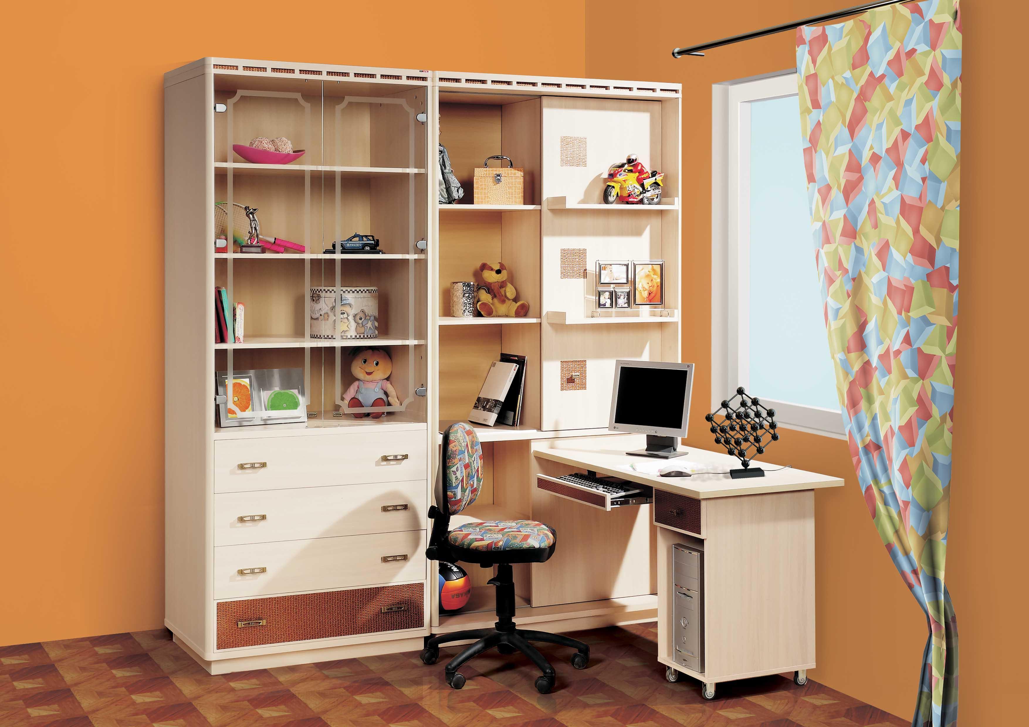 Уголок школьника со шкафом для одежды (32 фото): детская меб.