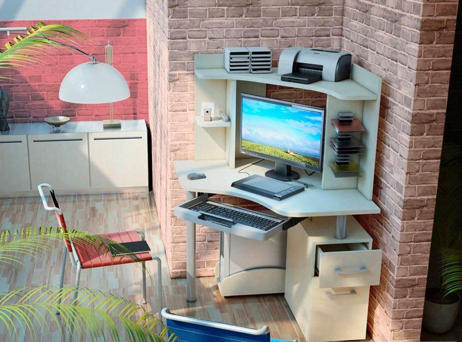 Белый угловой компьютерный стол (36 фото): мебель с глянцем .