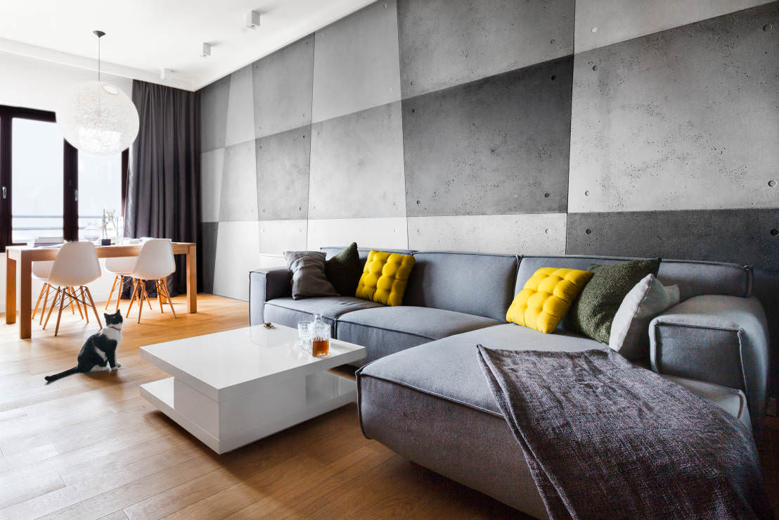 Дизайн интерьера с серыми стенами-фото