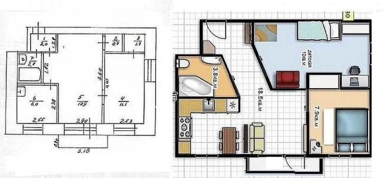 дизайн 3 х комнатной квартиры 64 кв м фото в панельном доме 2
