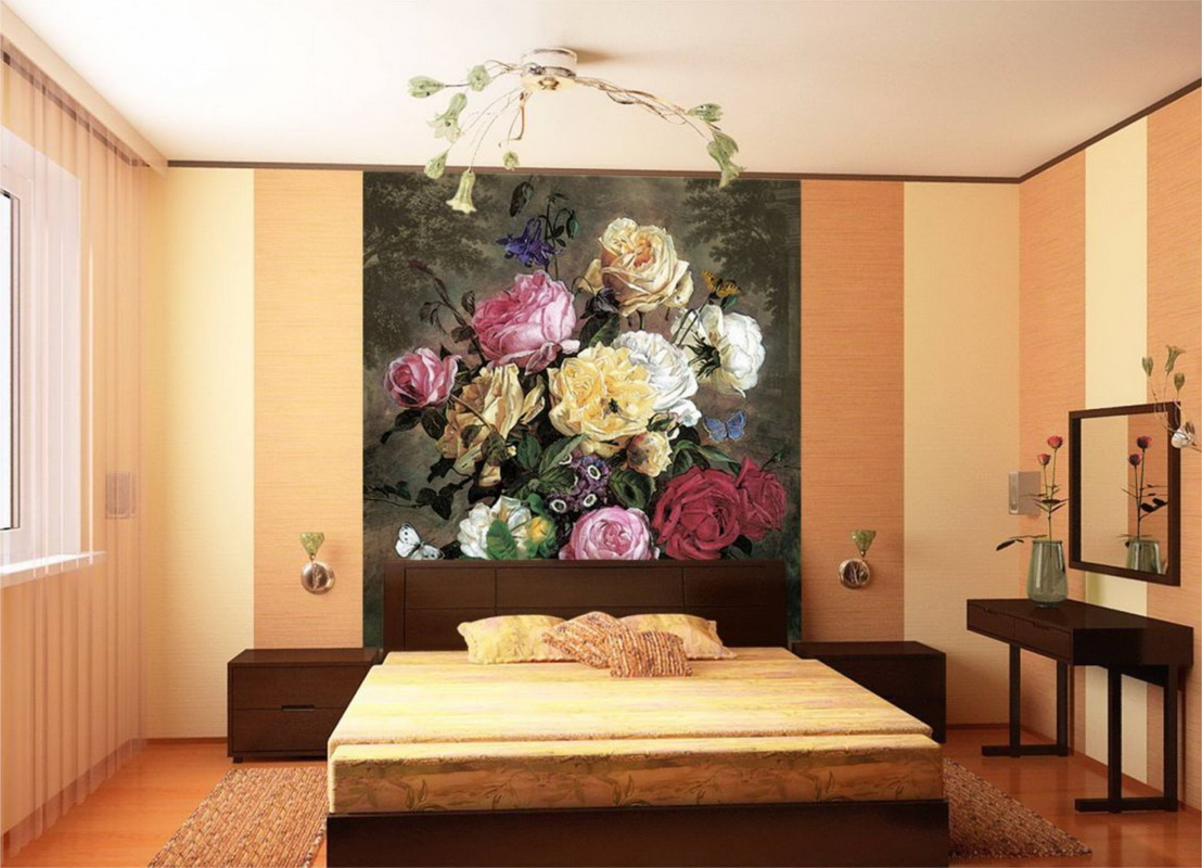 Поклейка обоев с цветами фото