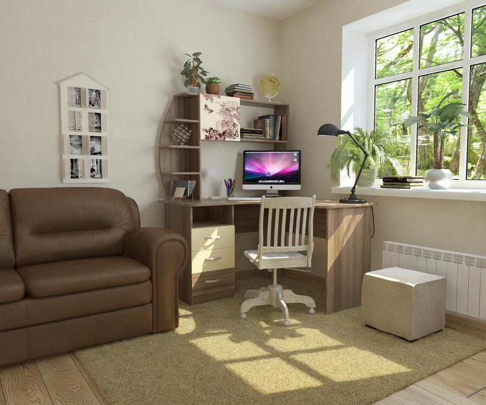 Стол со стеллажом: угловые модели с боковыми встроенными пол.