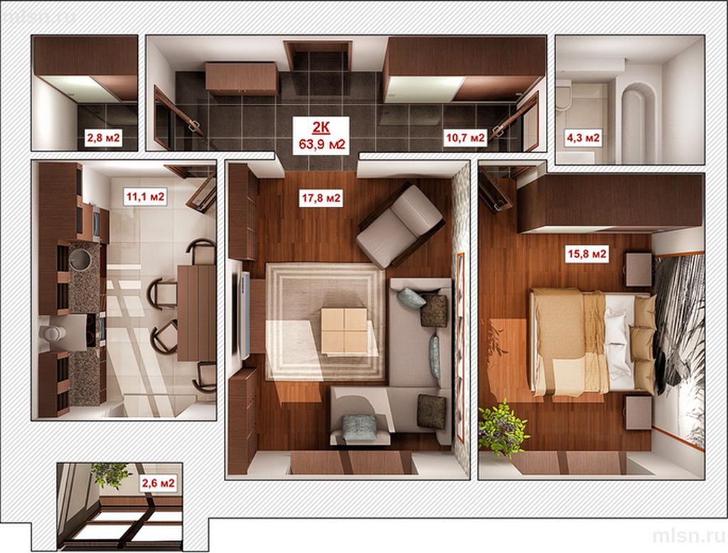 Перепланировка квартир в домах П-44ТМ и П-44Т/25