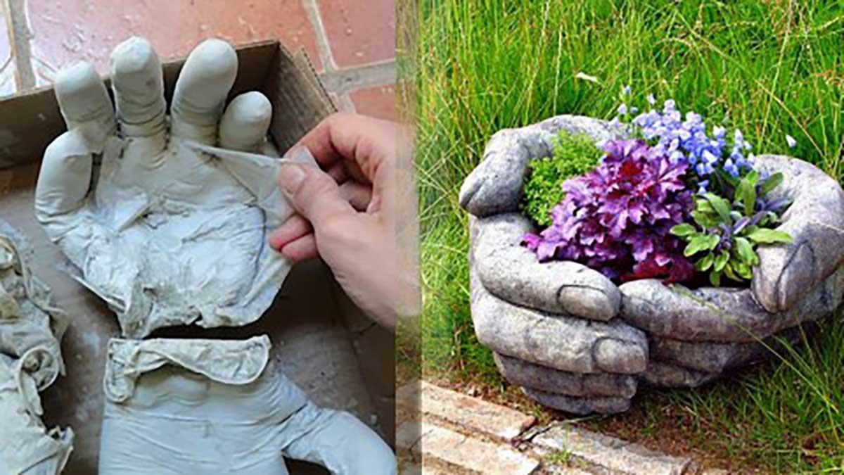 Как сделать вазон из бетона и ткани своими руками 40