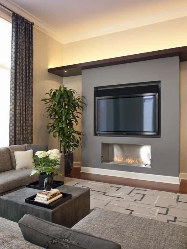 дизайн стены с телевизором в гостиной фото 7