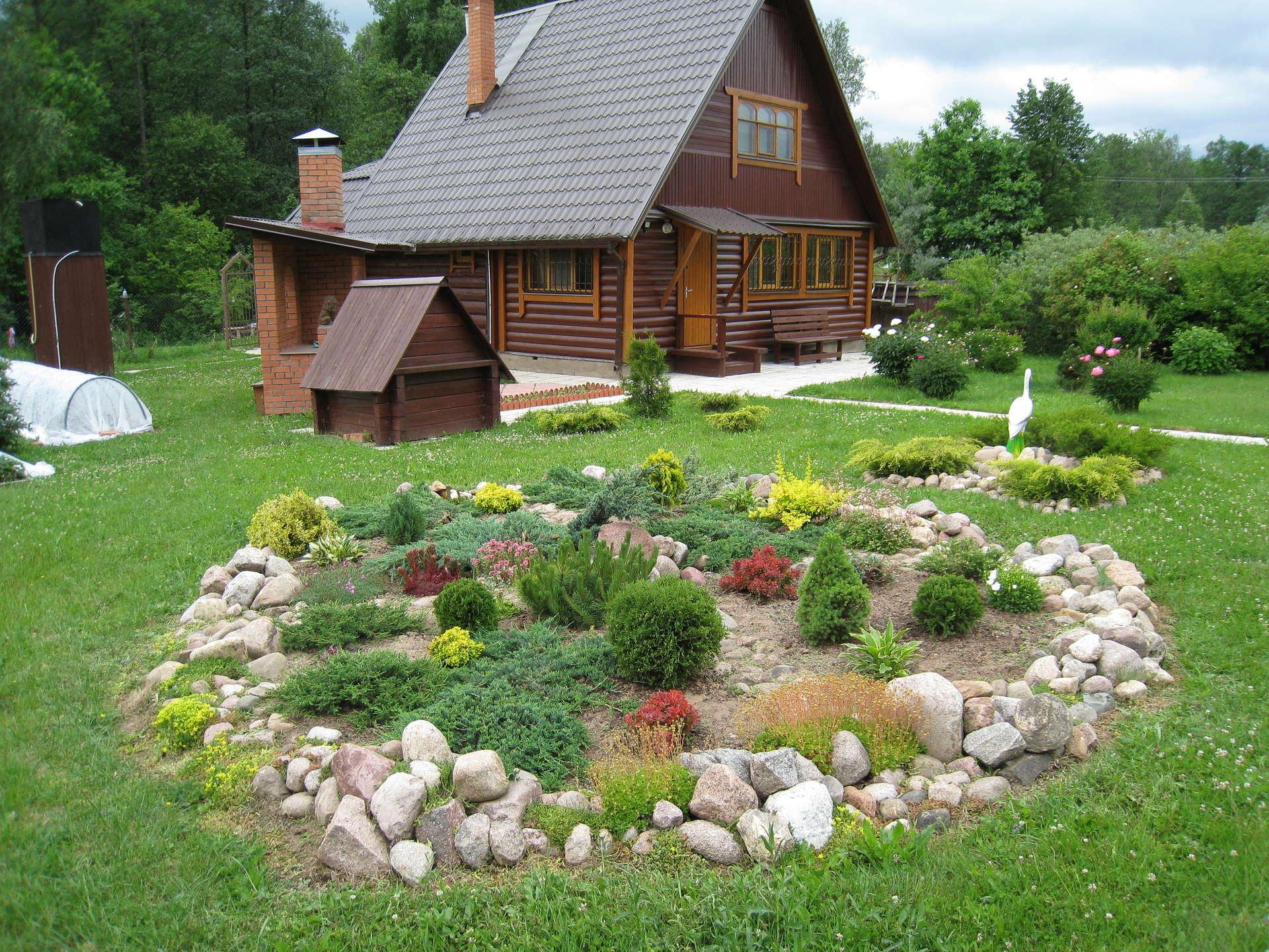 Дизайн дачного участка 6 — 30 соток 🎍 своими руками: фото дачи с домом и грядками