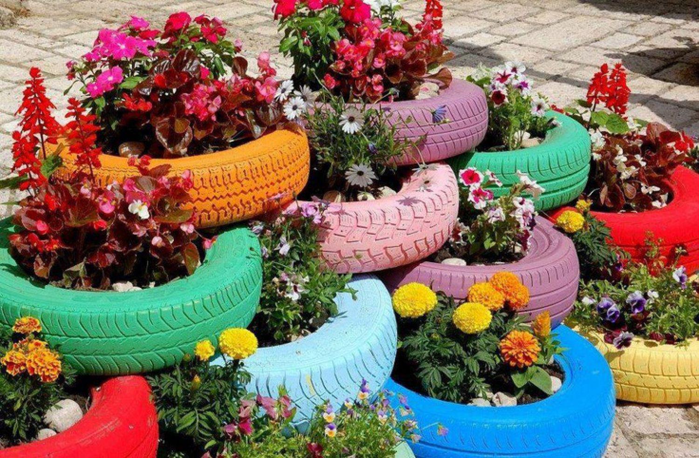 Сажаем цветы в шины 974