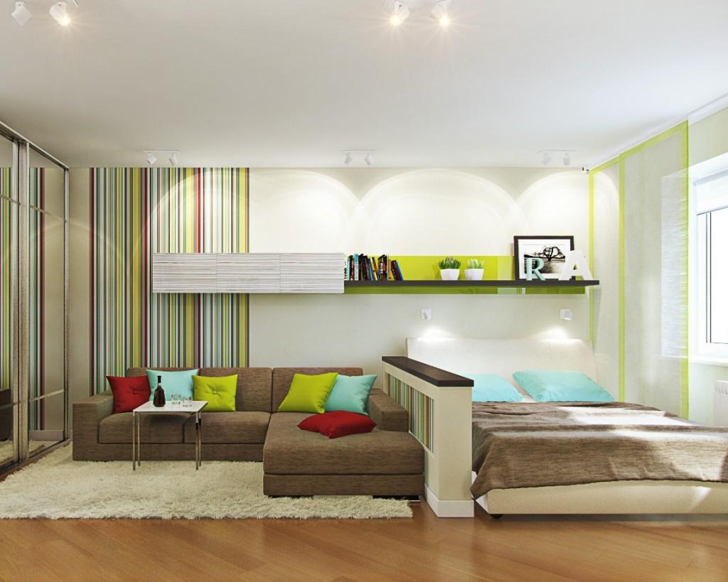 кровать и диван в одной комнате фото летних пляжных шляп