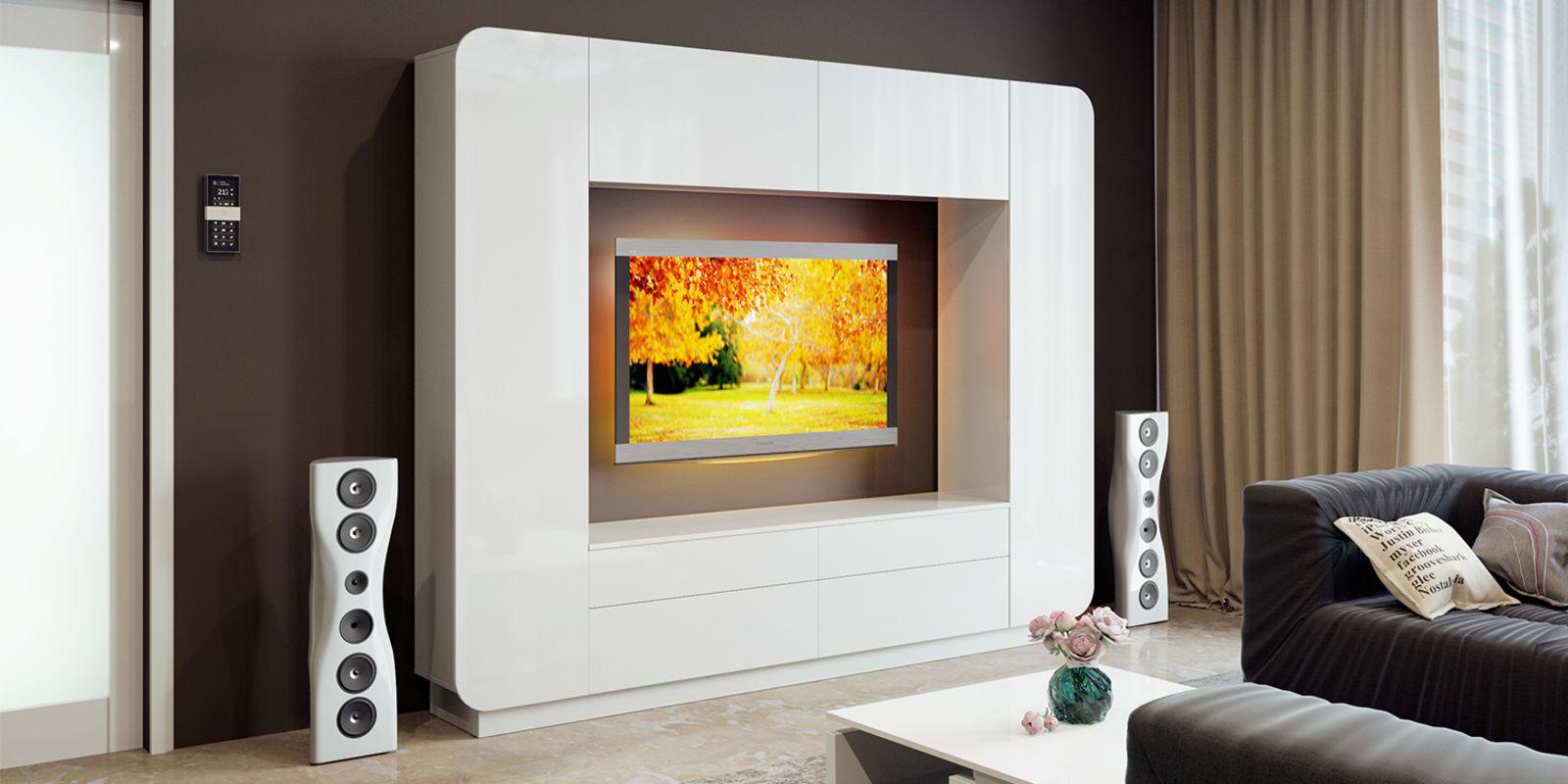 Мебель под телевизор в гостиную (39 фото): подвесная тумба и.