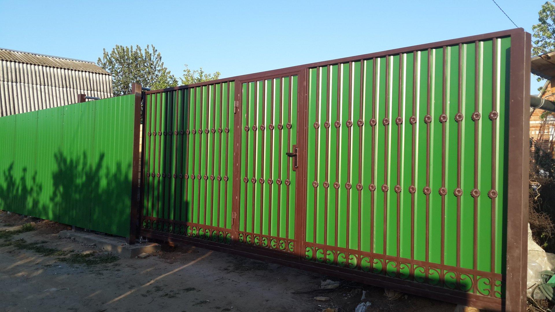Ворота с встроенной калиткой из профнастила своими руками фото