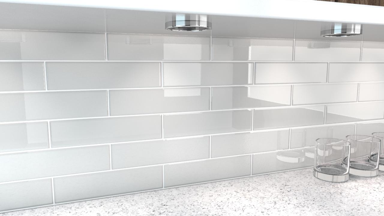 Large glass tiles for backsplash
