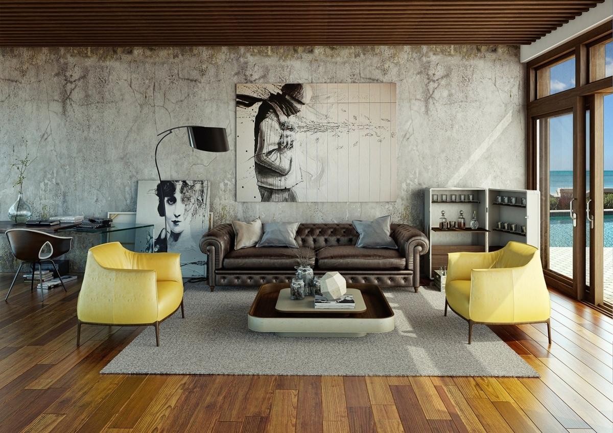 Дизайн стен из натурального материала