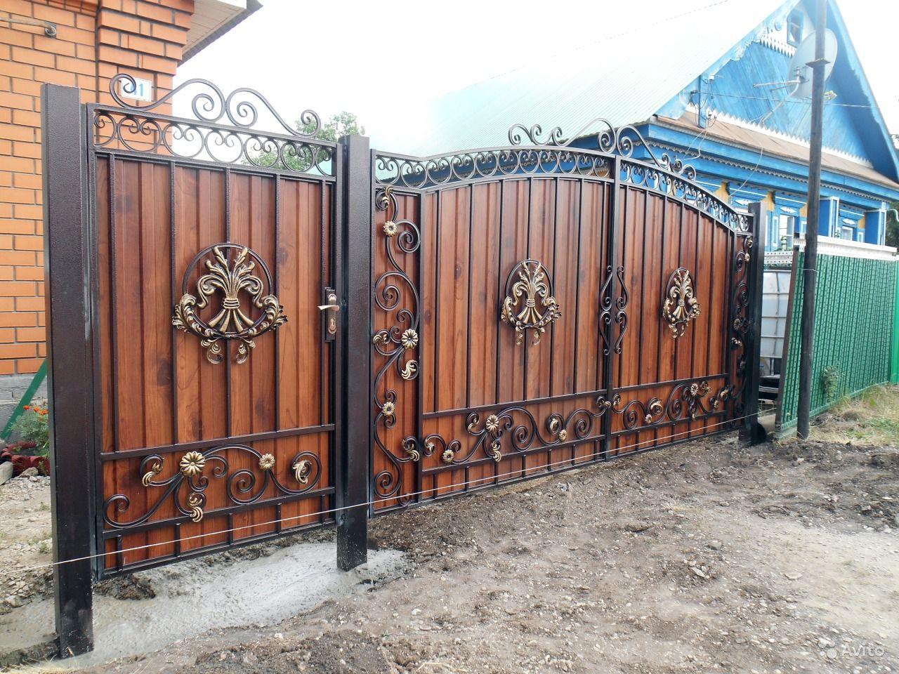 Ворота из профнастила с элементами ковки своими руками фото 872