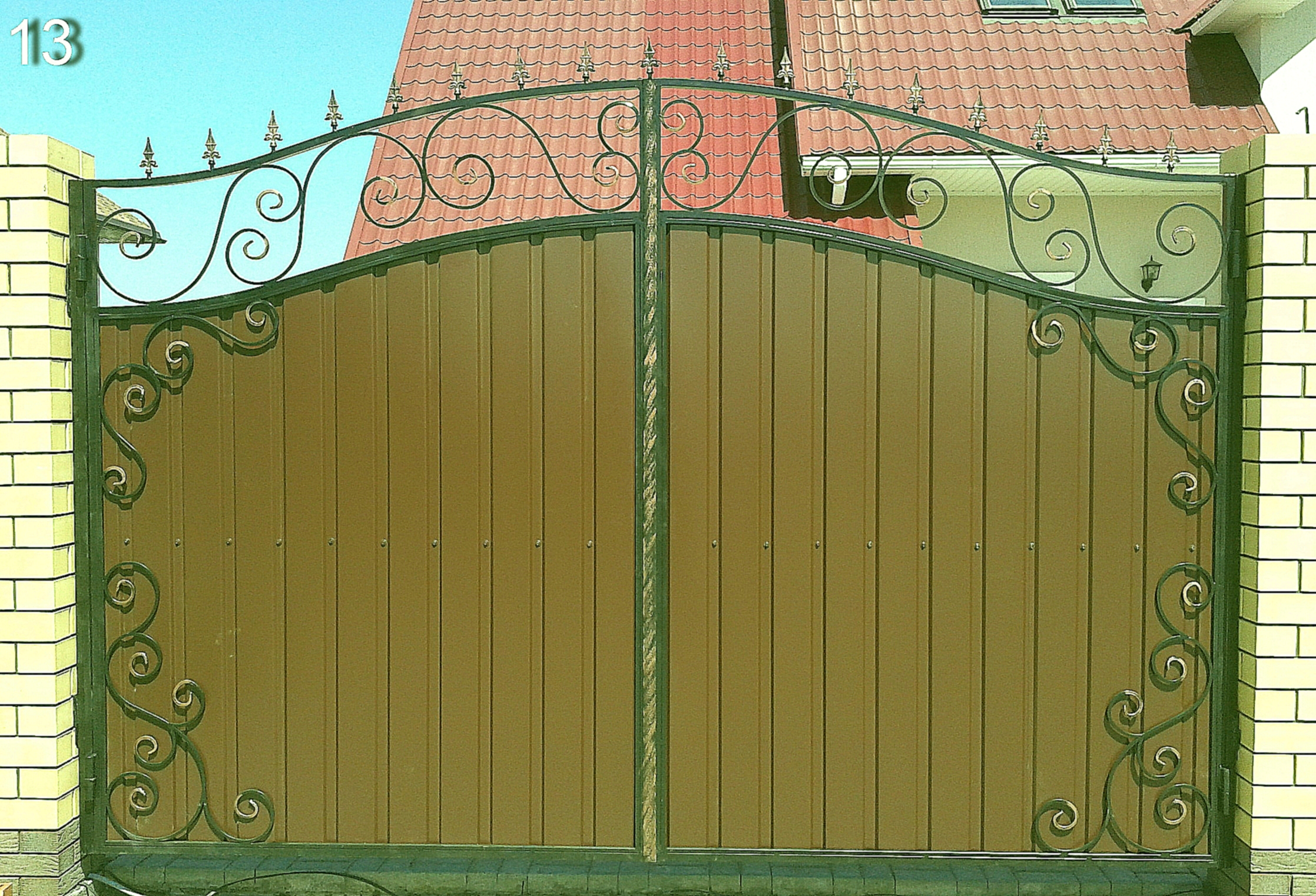 Ворота из профнастила с элементами ковки своими руками фото 40