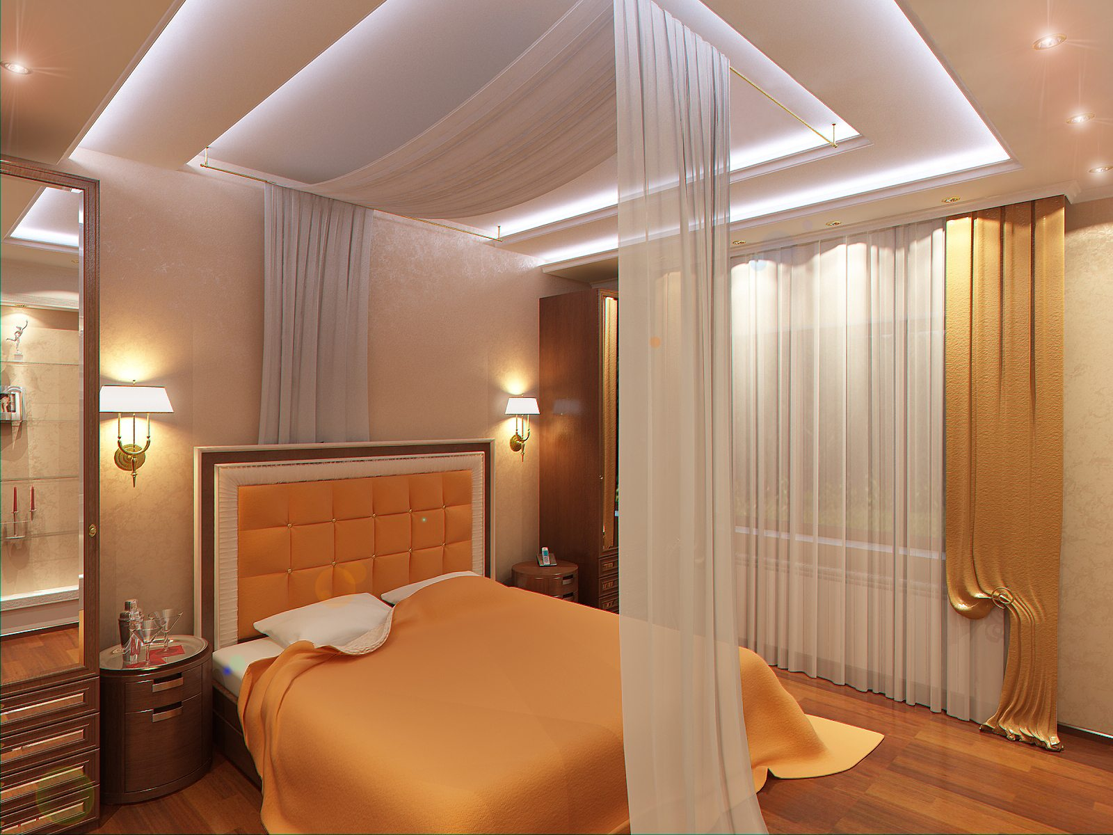 Фото красивых потолков из натяжного в спальне
