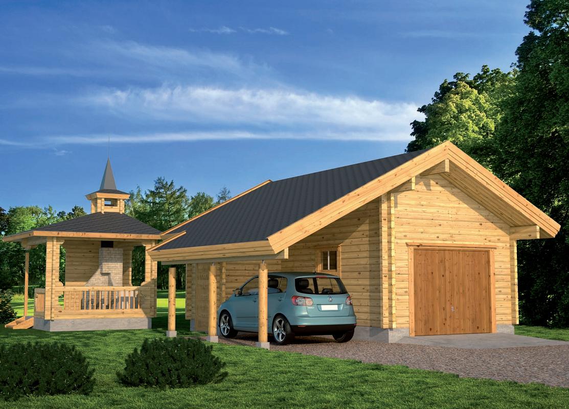 Деревянный дом с гаражом своими руками 814