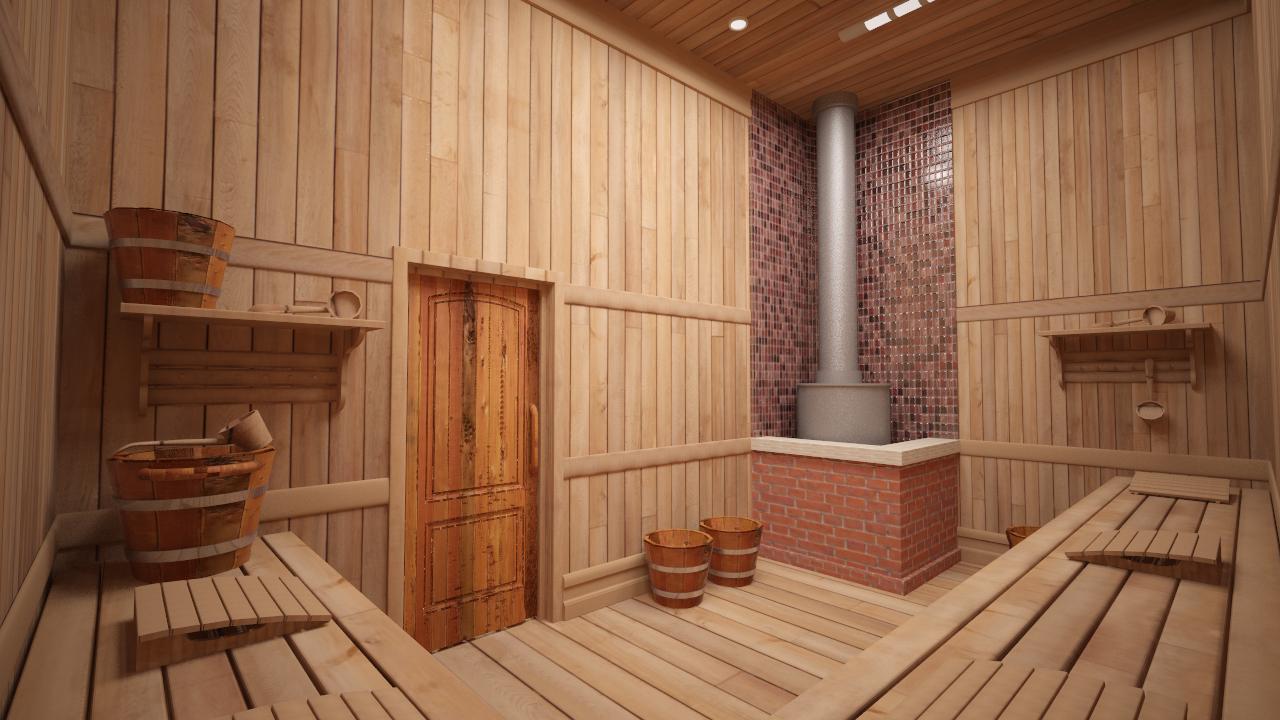 Комната отдыха в бане в скандинавском стиле